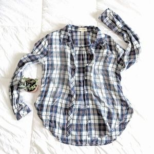 Cloth & Stone Button Up Plaid Shirt